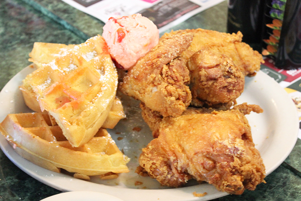 Chicken and waffles from Metro Diner
