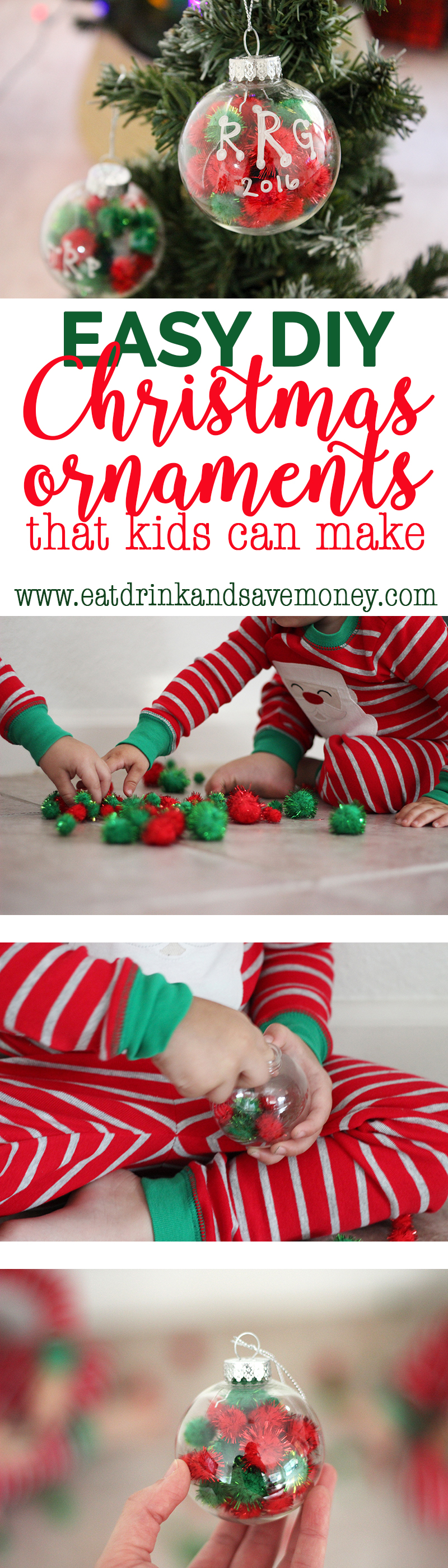 You've got to check out this easy DIY Christmas ornament that kids can make. These sensory ornaments are super easy and tons of fun to make with toddlers and preschoolers.