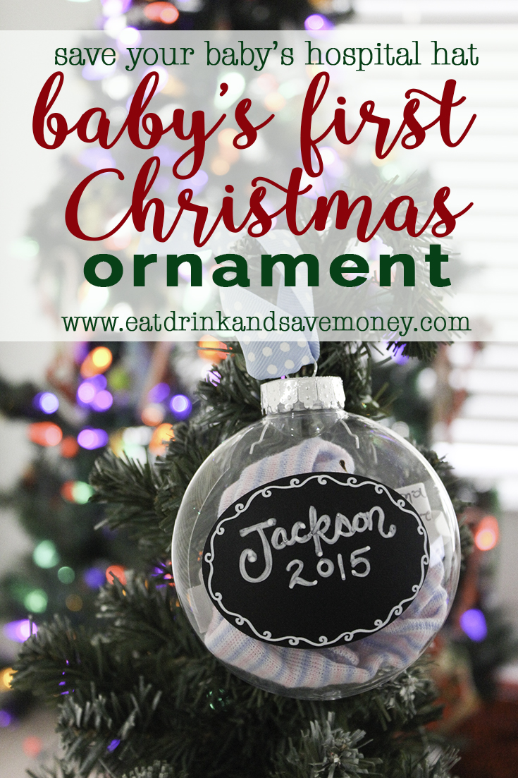 Save your baby's hospital hate to make baby's first Christmas ornament