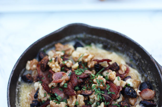 Bacon and fig baked brie recipe is super savory and delicious