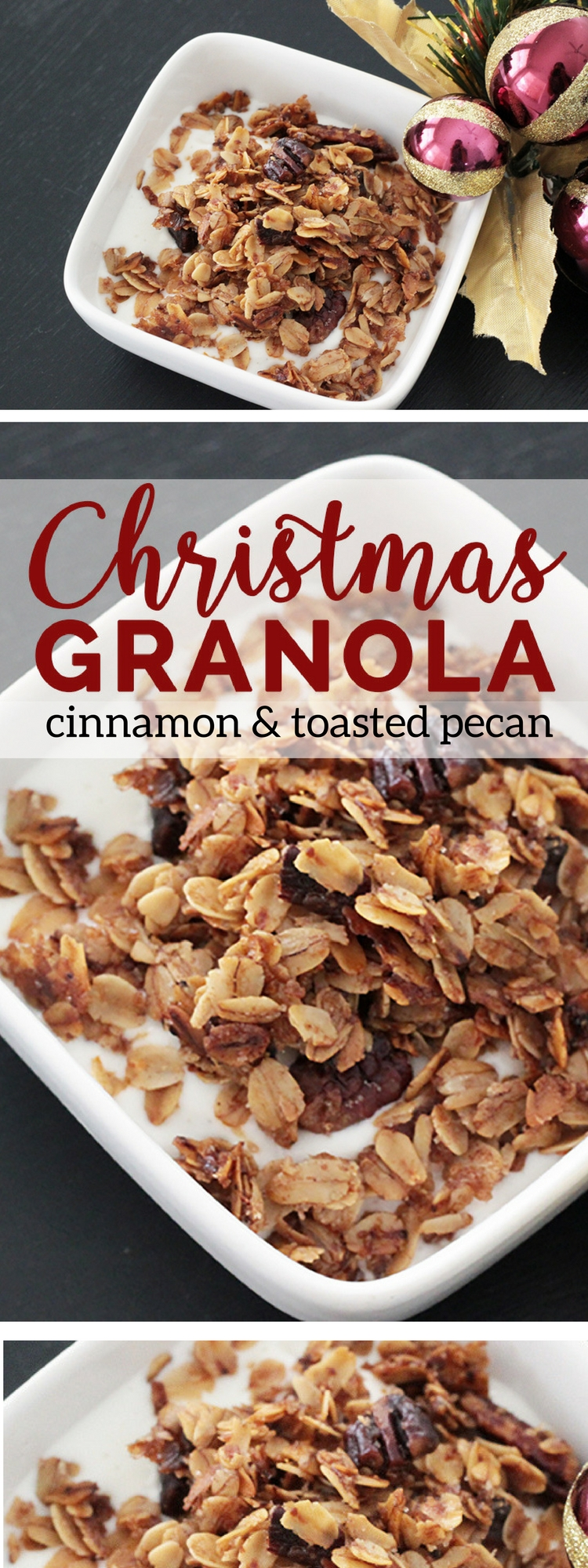 Christmas granola recipe. Cinnamon and toasted pecan granola recipe. How to make your own granola.