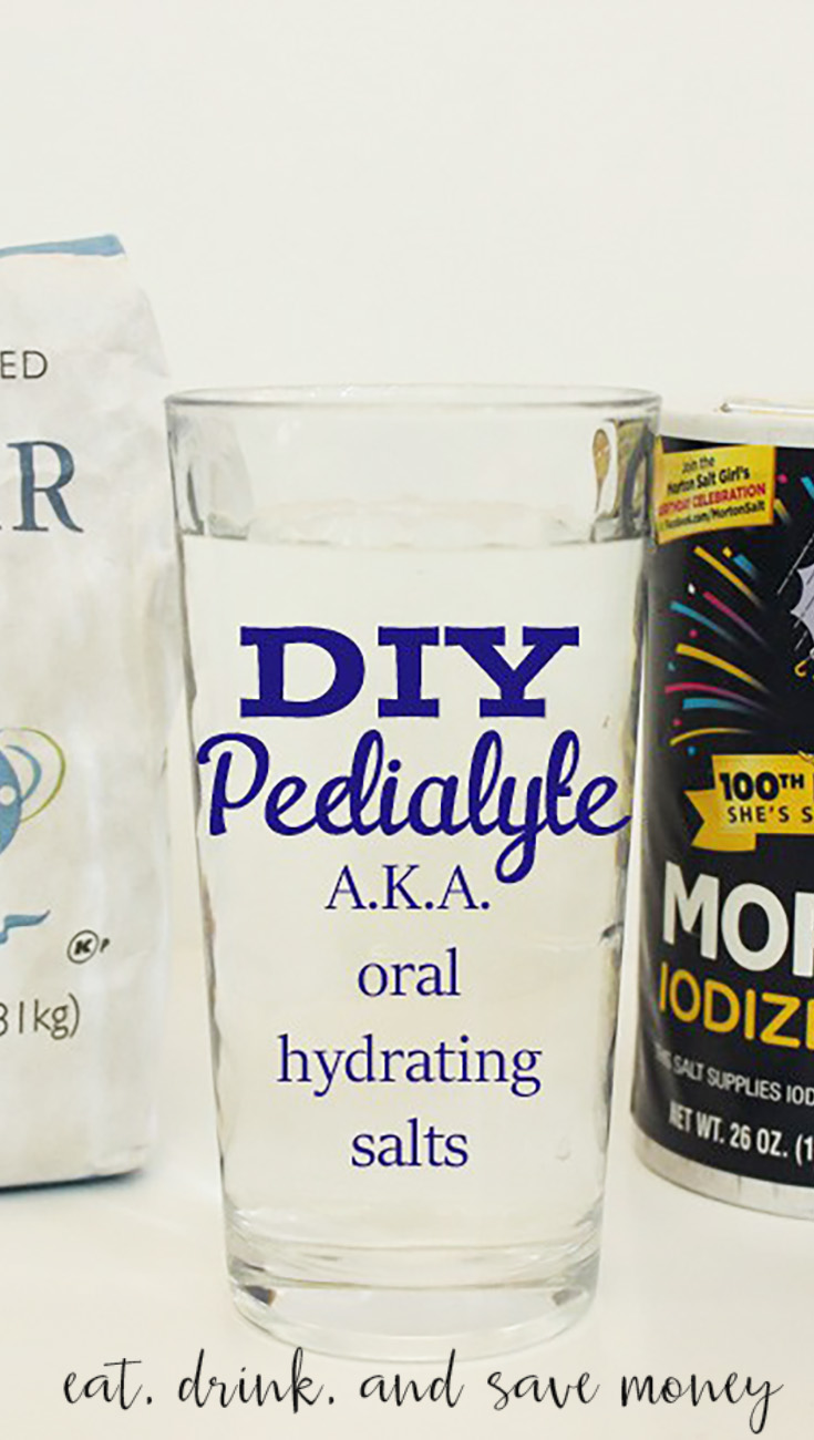 How to make your own oral rehydrating salts. This is a great DIY Pedialyte Recipe to help your kids or yourself when you are sick | Eat, Drink, and Save Money