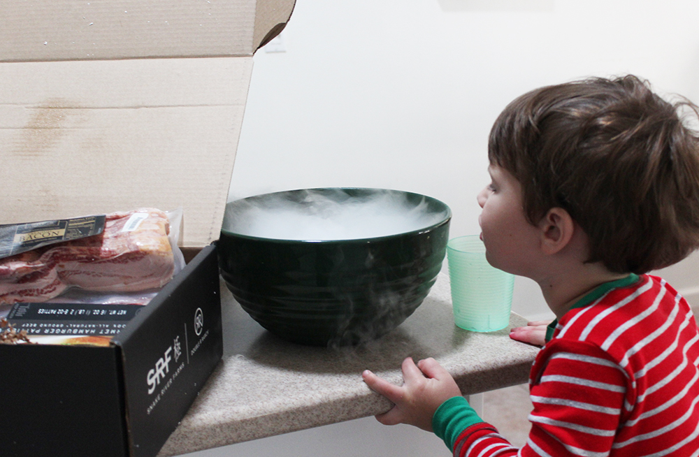 Robert enjoying the dry ice from Snake River Farms