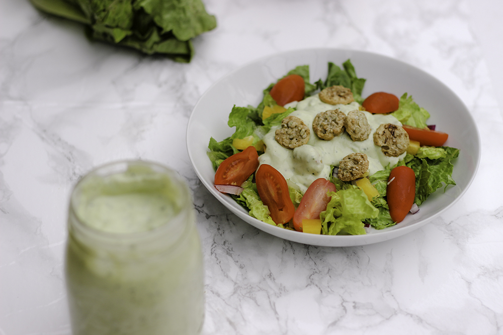 Avocado ranch dressing recipe with somersaults as croutons