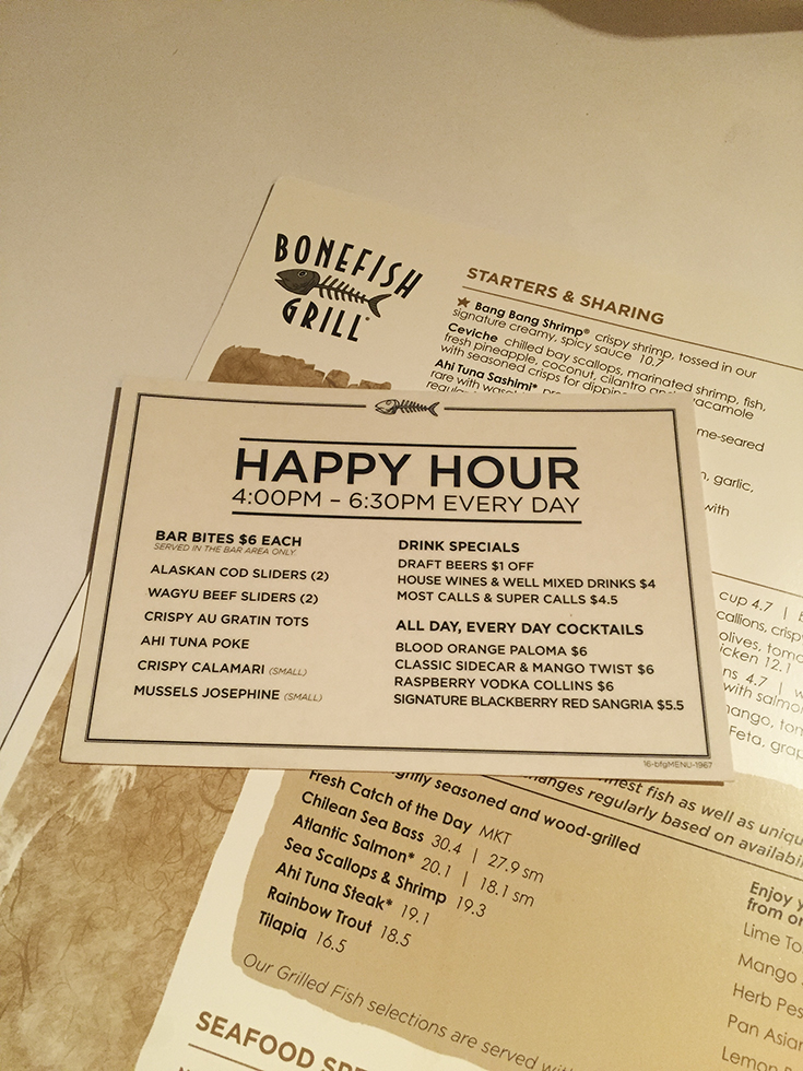 Delicious and affordable happy hour spot bonefish grill for Fish bone grill menu
