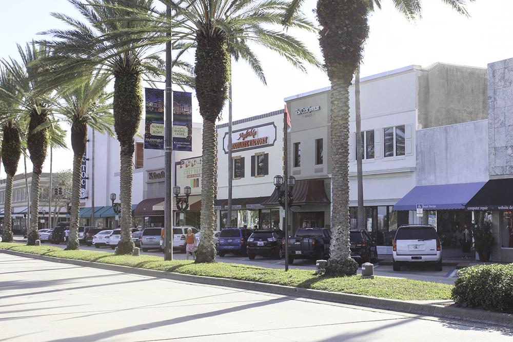 The cute downtown in Daytona Beach