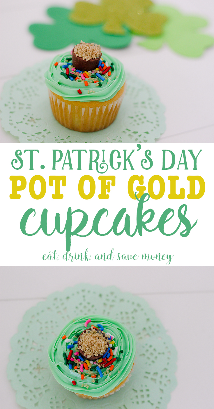 Yummy St. Patrick's Day Cupcakes- Pot of gold cupcakes