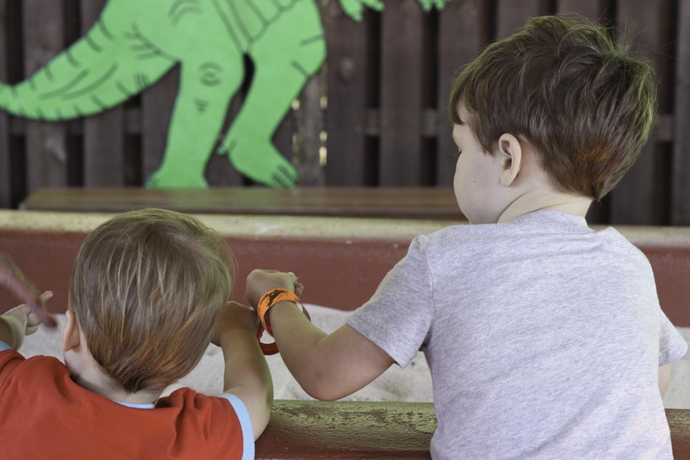 Family Activities in Orlando- Robert and Jackson enjoying Dinosaur World