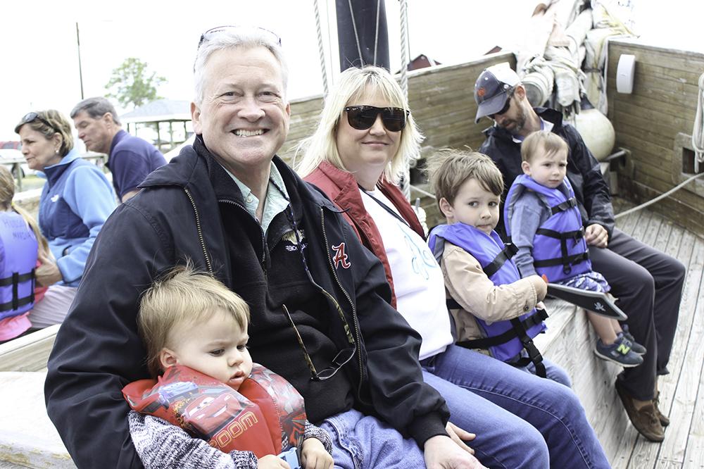 Grandbob and Nana with the kids on the pirate cruise in Orange Beach