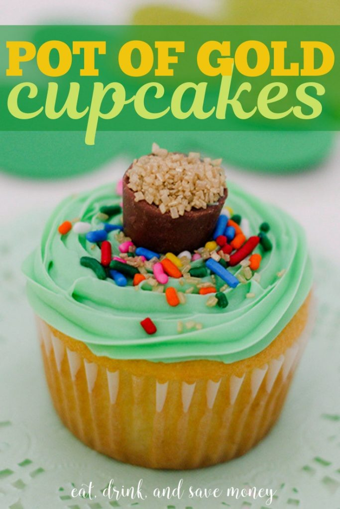 Pot of Gold cupcakes perfect for St. Patrick's Day. #stpatricksday #potofgold #funforkids #partywithkids #Kidsparties