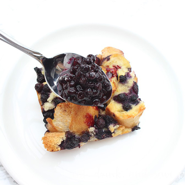 Easter Brunch Recipes- baked blueberry french toast casserole is delicous square