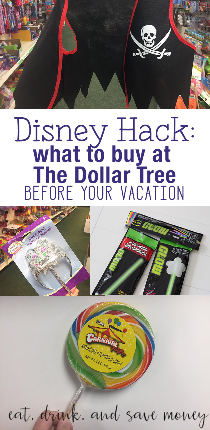 Disney Hack- What to buy at The Dollar Tree Before your vacation to Disney World. Spend Less at Disney World. What do buy before going to Disney World.