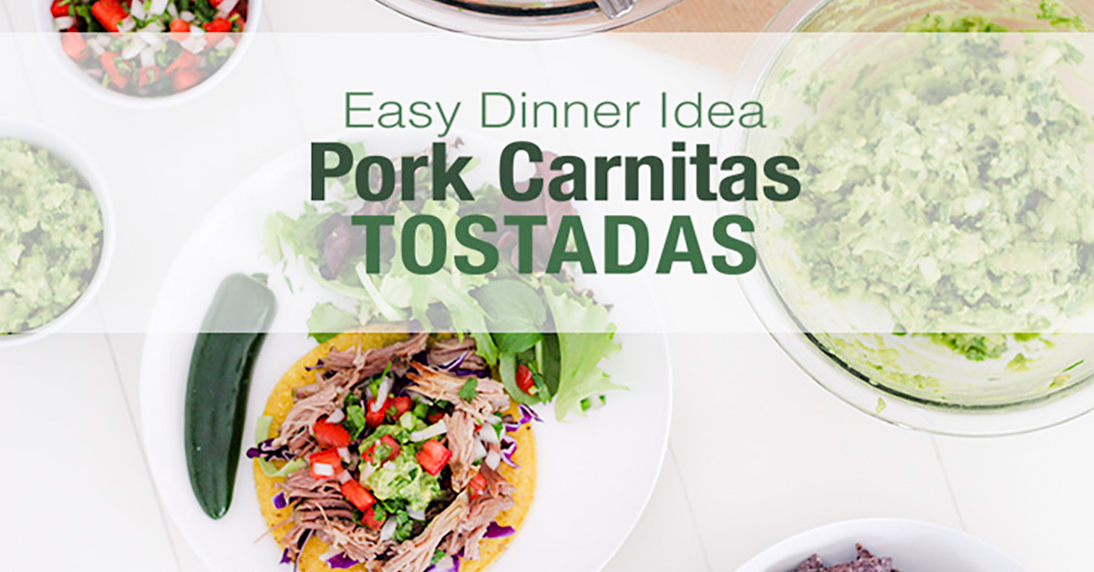 Make dinner easy with this 30 minute meal idea of carnitas tostadas