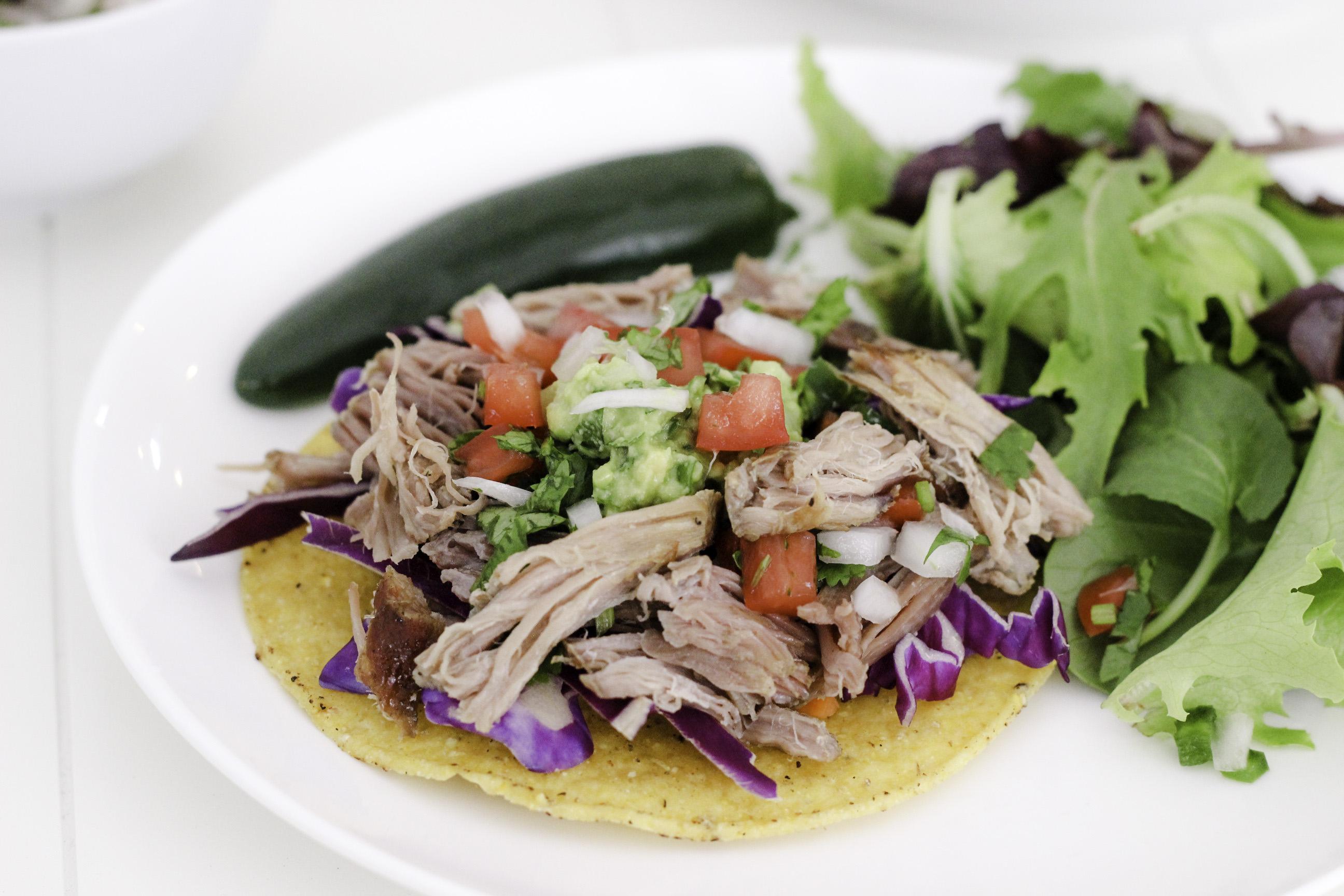 Make dinner easy with this pork carnitas tostadas recipe