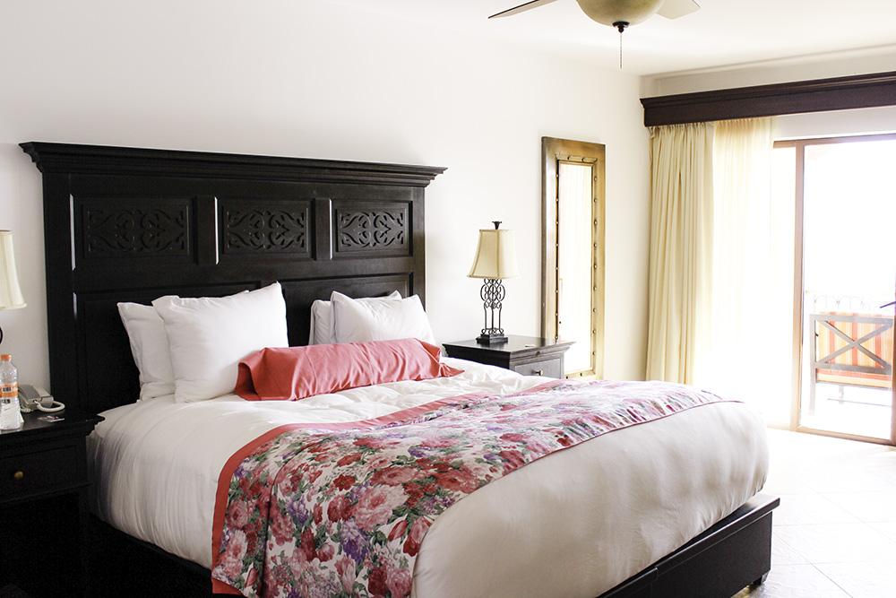 The hotel room bed at the Hacienda Encantada