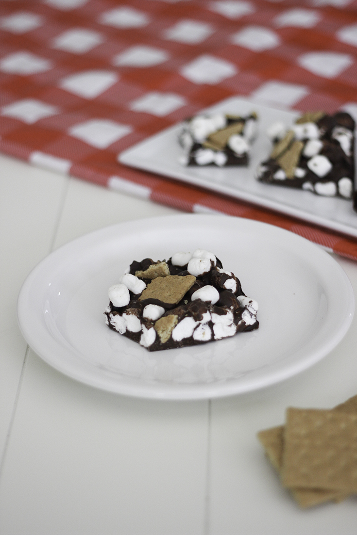 Make s'mores bark recipe. It's the perfect summer recipe for summer cookouts and end of the year parties