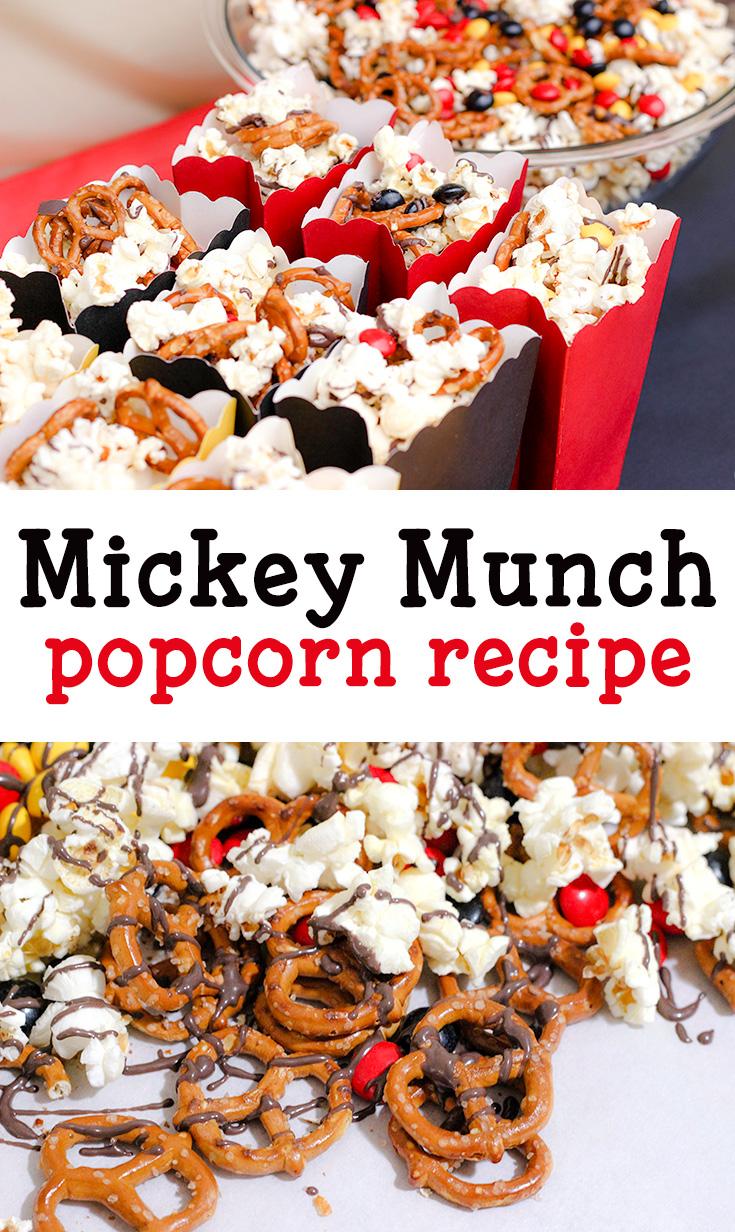 Mickey Mouse themed snack ideas- mickey munch popcorn recipe