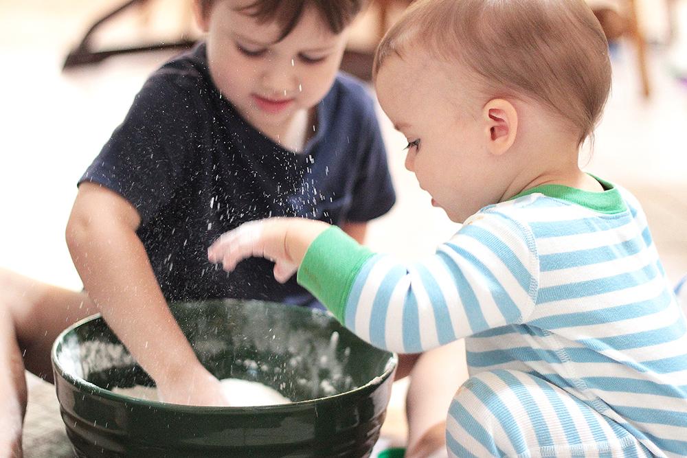 Robert and Jackson make play dough