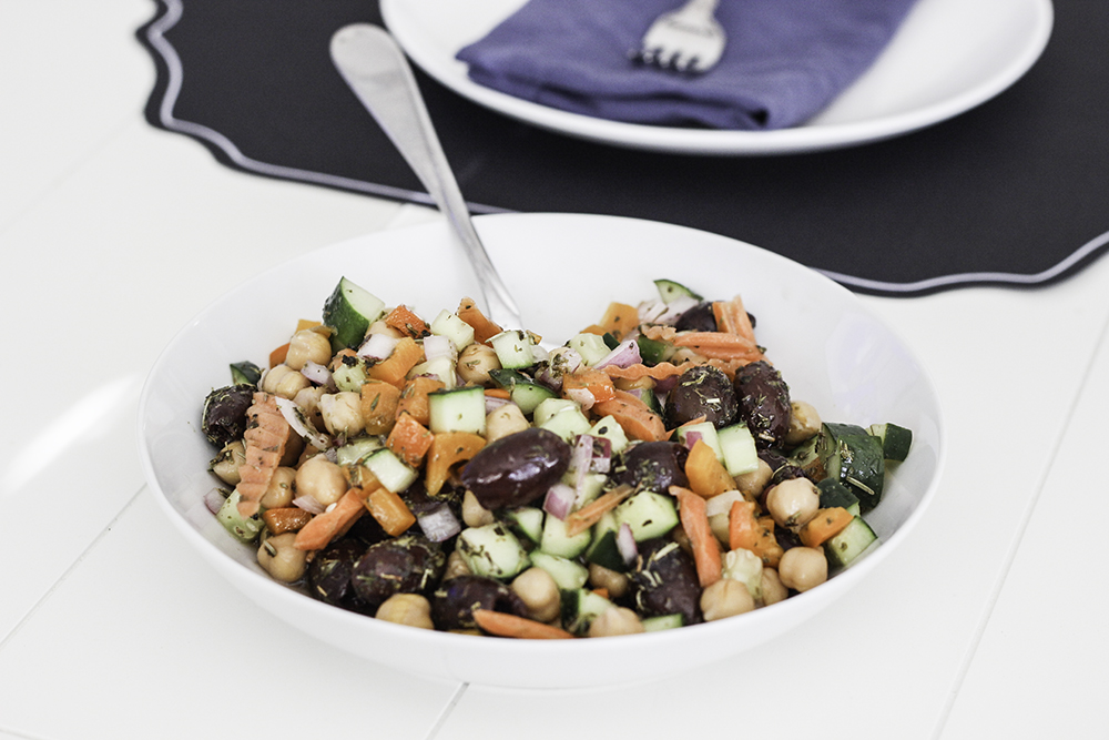 Easy balanced dinner: Simple summer side dish marinated vegetable salad recipe