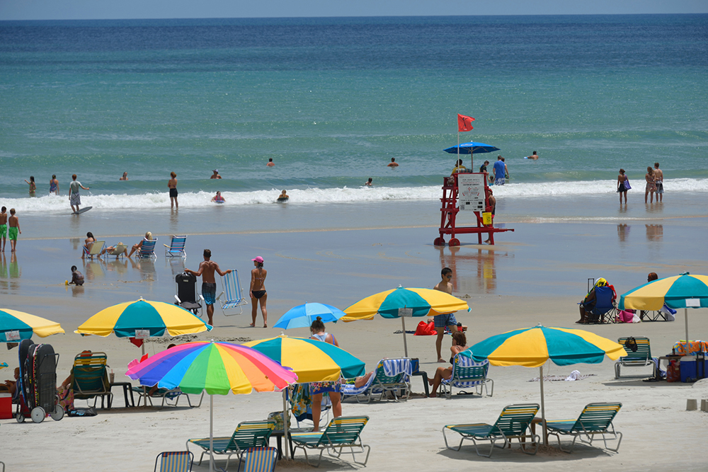 The beaches in Daytona Beach, FL are wide enough that they don't feel crowded.