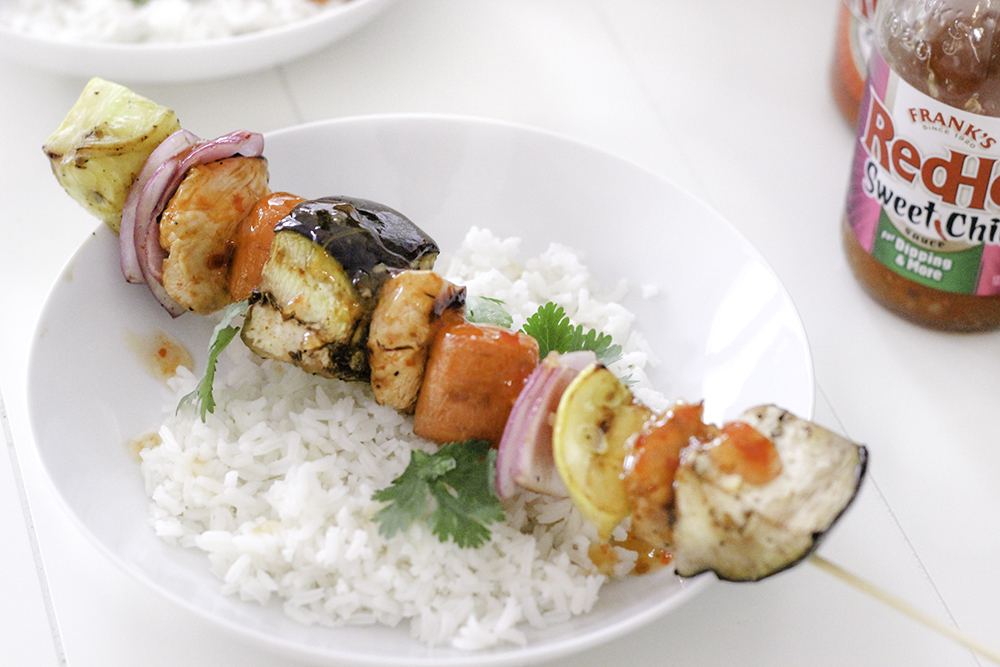 Franks Red Hot Sweet Chili sauce is perfect for summer grilling like these chicken kabobs