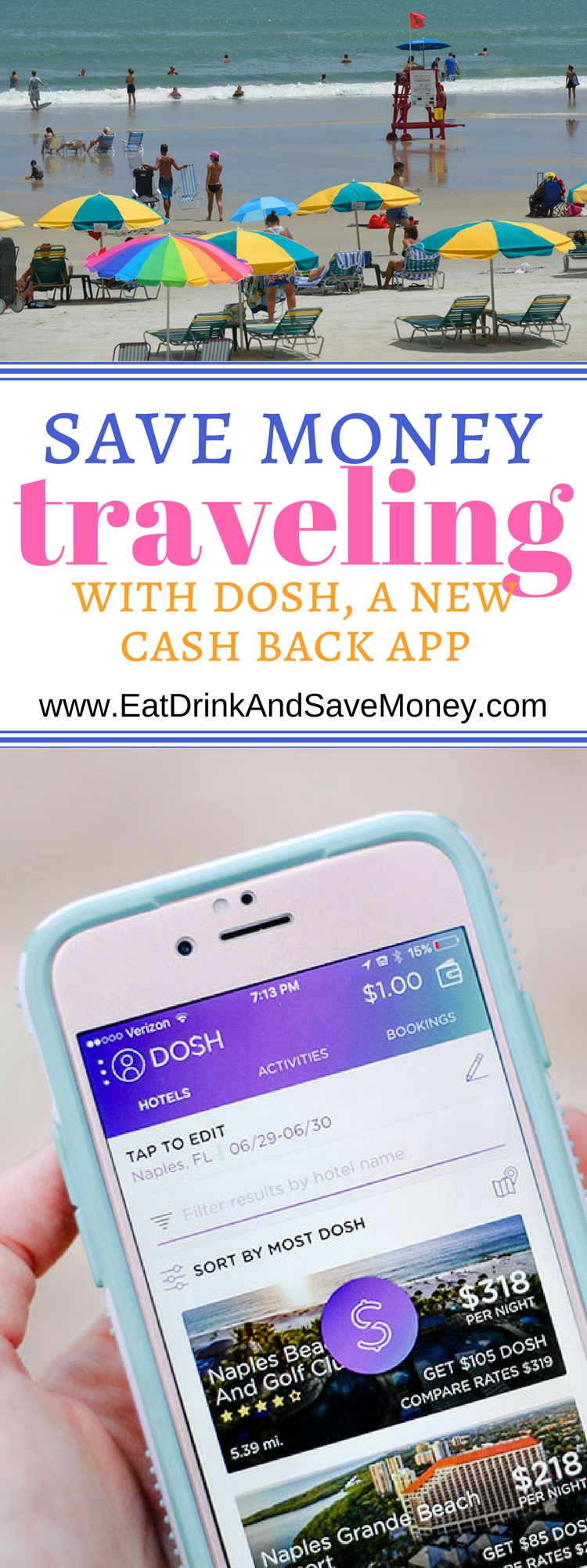 Save Money Traveling with Dosh, a new cash back app that save you money on hotels. Get cash back on hotels