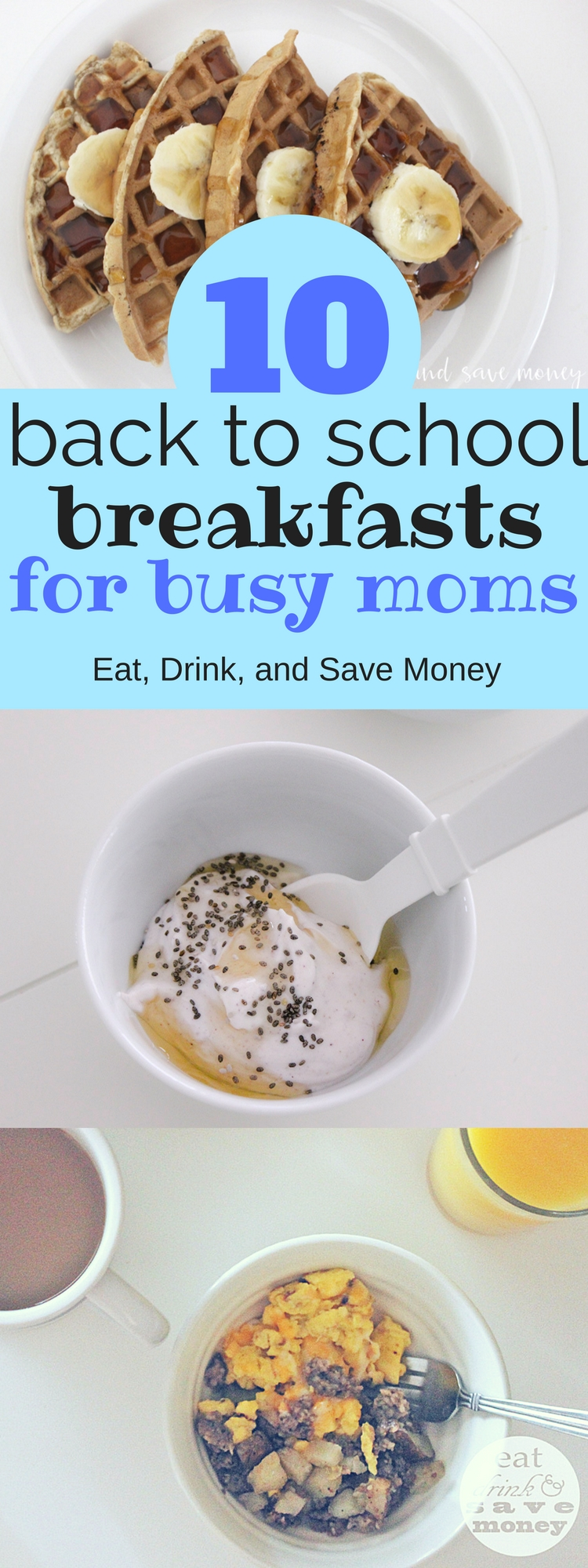 10 Back to School Breakfasts for busy moms. Check out these easy back to school breakfast ideas for busy moms. These ideas are realistic and will help you come up with easy breakfasts.