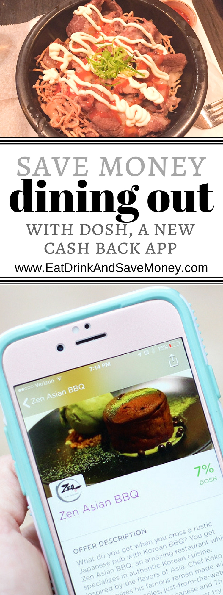 Save Money Dining out with DOSH, a new cash back app. See how this blogger saved nearly 10% dining out with this app!