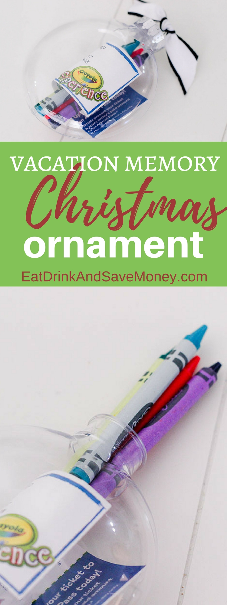 DIY Christmas ornament_ preserve vacation memories by making a travel ornament. Use clear ornaments and fill them with your favorite keepsakes from vacation.