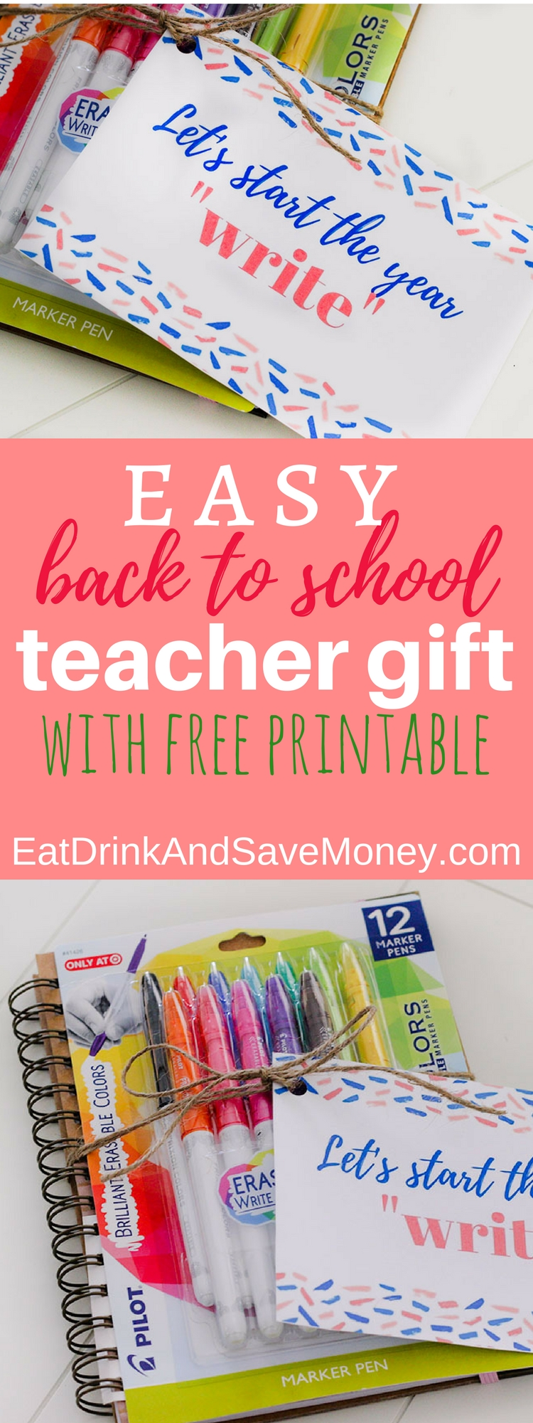Easy back to school teacher gift with free printable_ check out this easy printable gift tag to make your own gift for teachers.