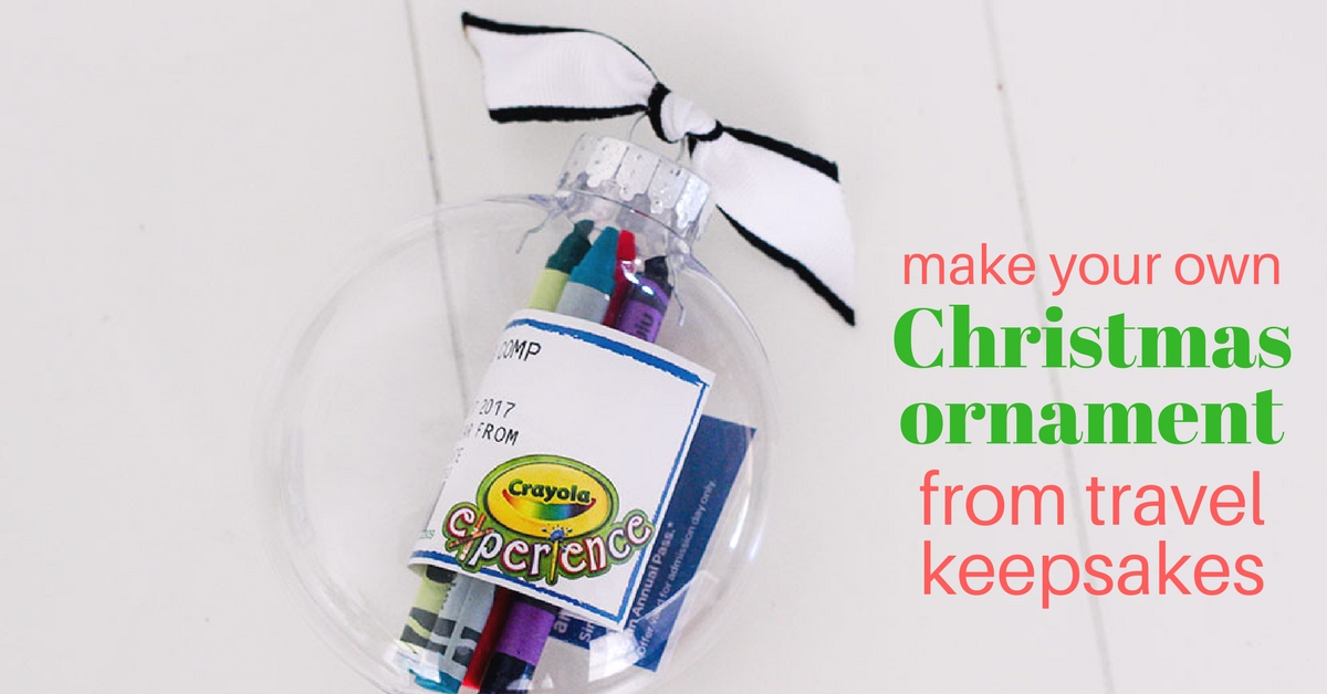 make your own Christmas ornament from travel keepsakes