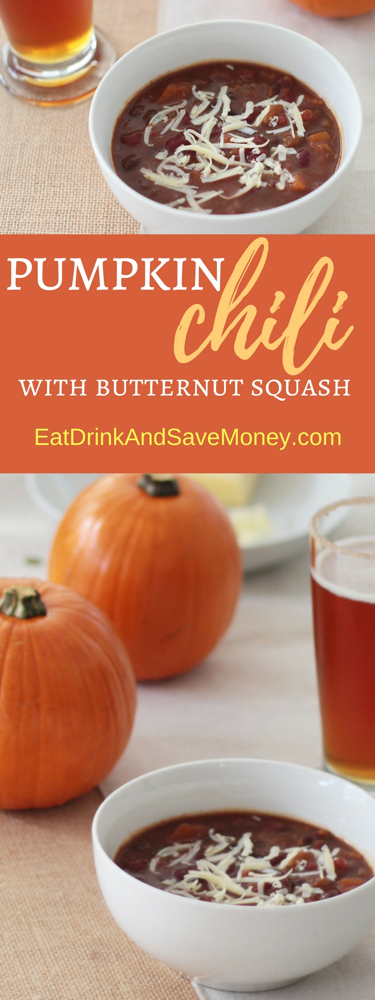 Check out this simple crock pot recipe for pumpkin chili with butternut squash. It's an easy soup recipe that is perfect for fall entertaining. It's a great fall recipe_ slow cooker recipe.