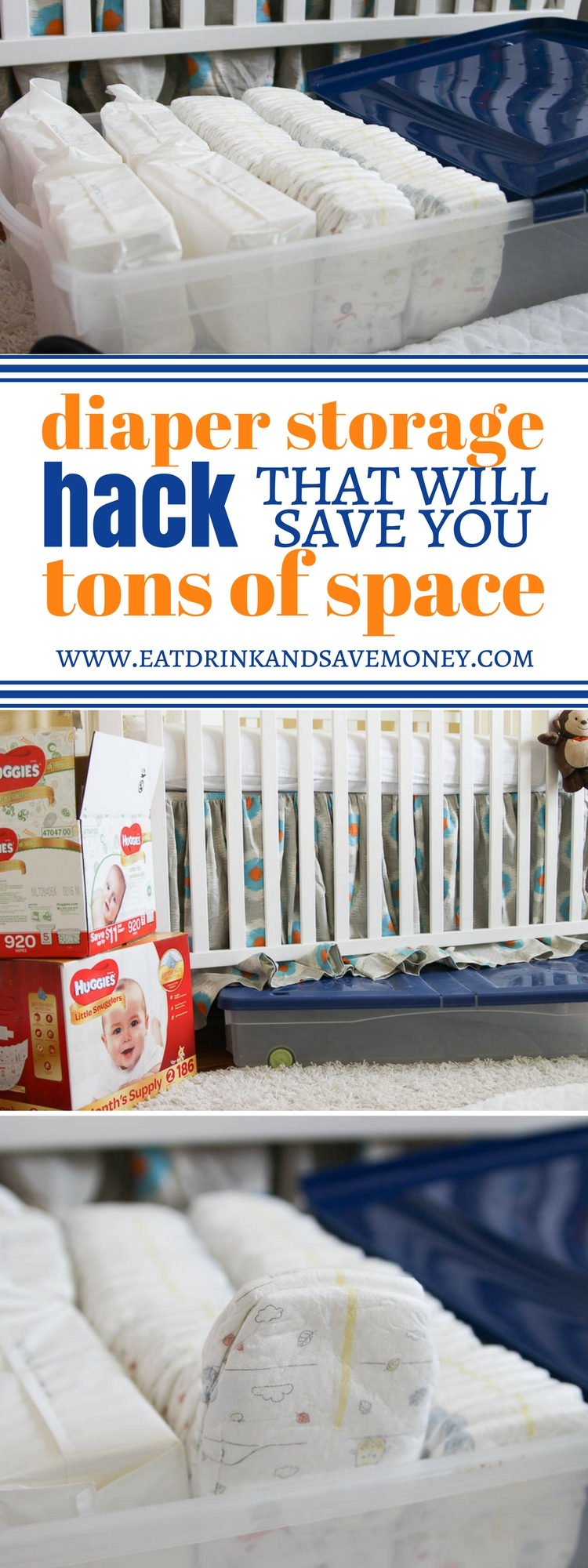 New baby hack_ diaper storage hack with will save you tons of space. Nursery ideas. Easy nursery storage solutions.