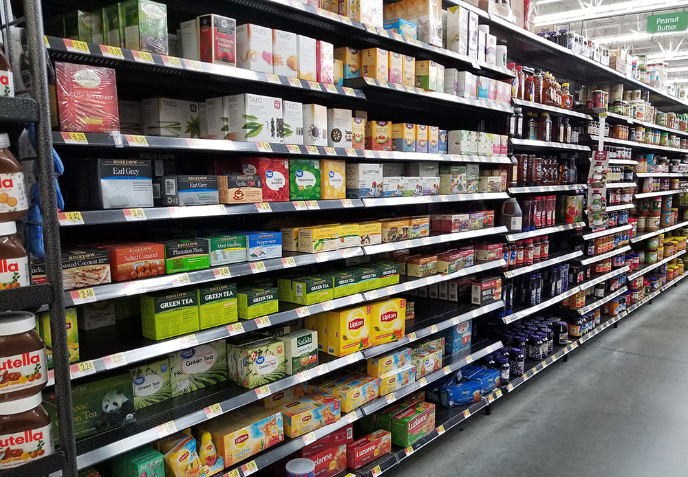 Bigelow tea in the tea aisle at Walmart
