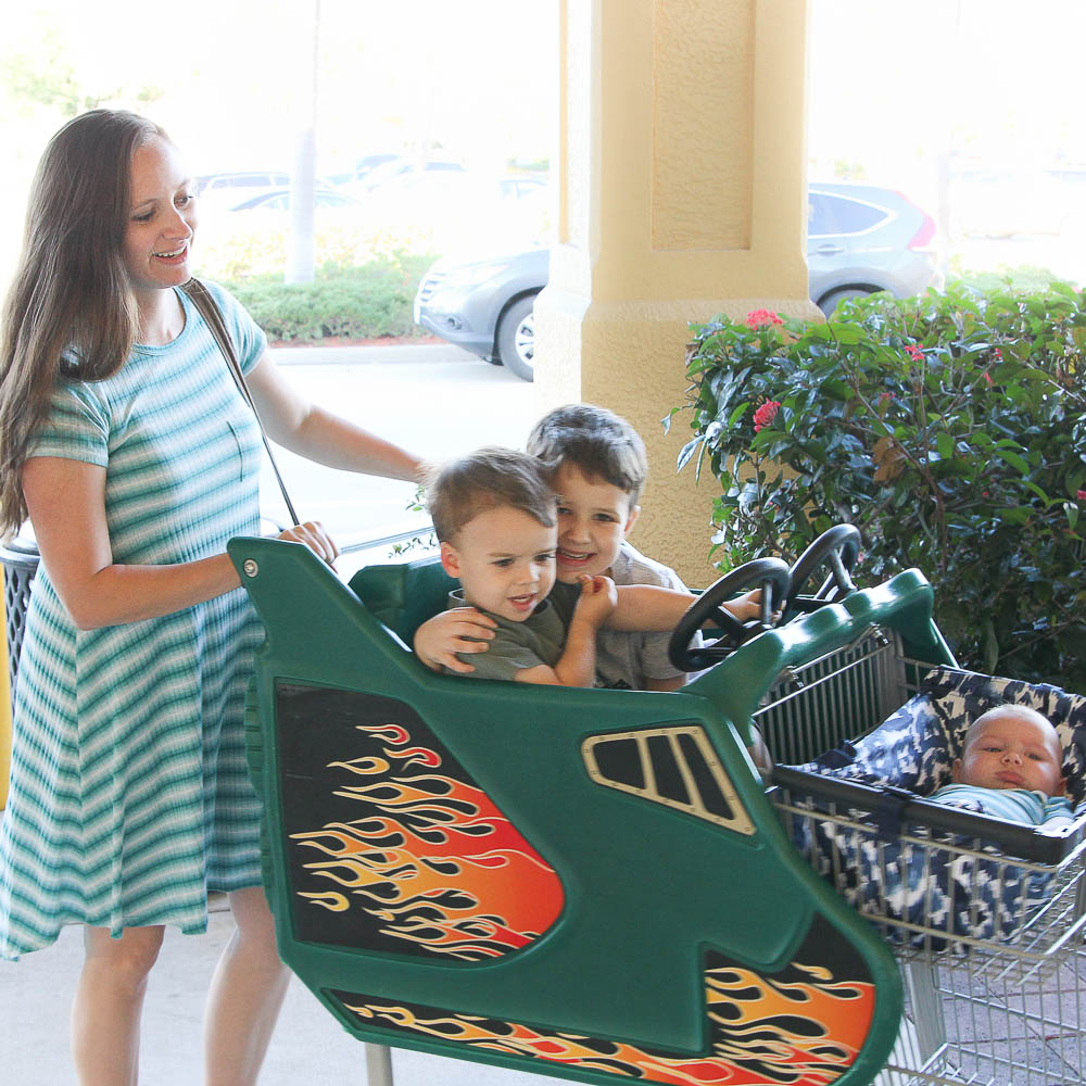 Binxy baby grocery shopping shopping cart, Hannah, Robert, Jackson and Max-1