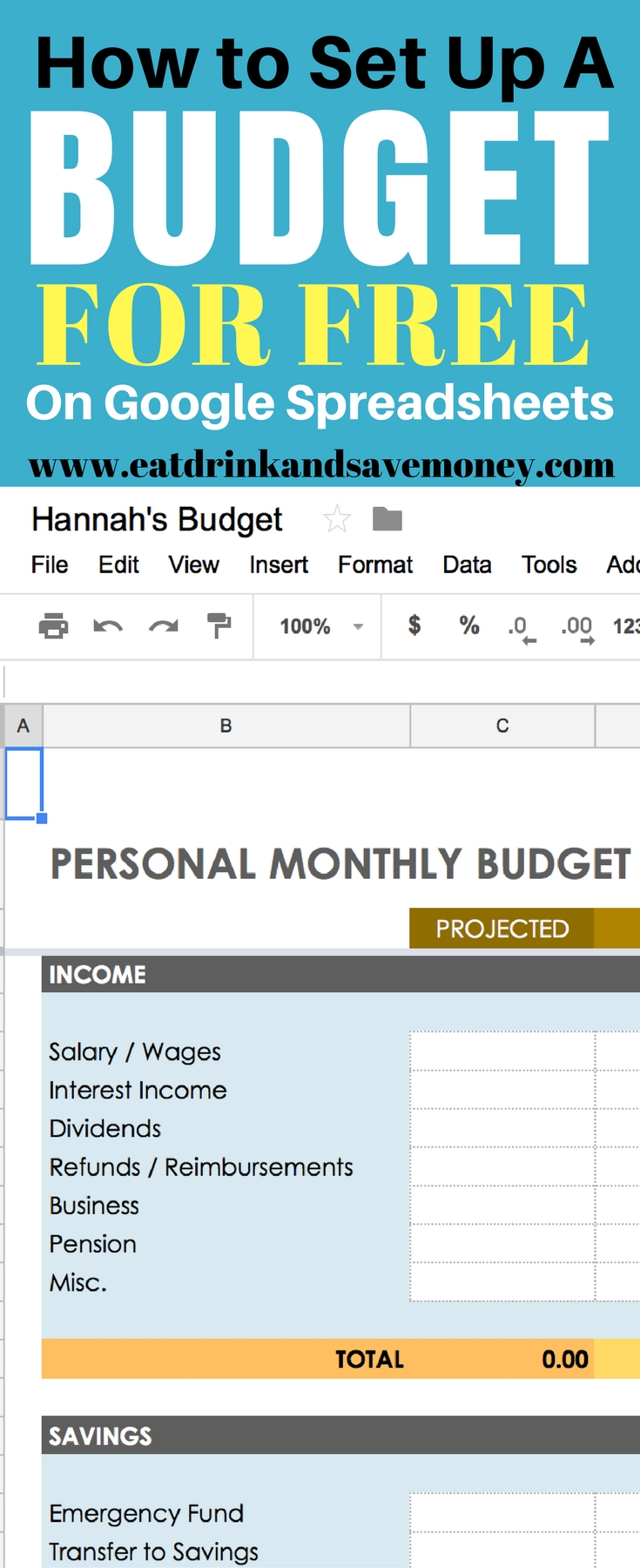 How to set up a budget for free on google spreadsheets. #budget #free #google #finance #savemoney
