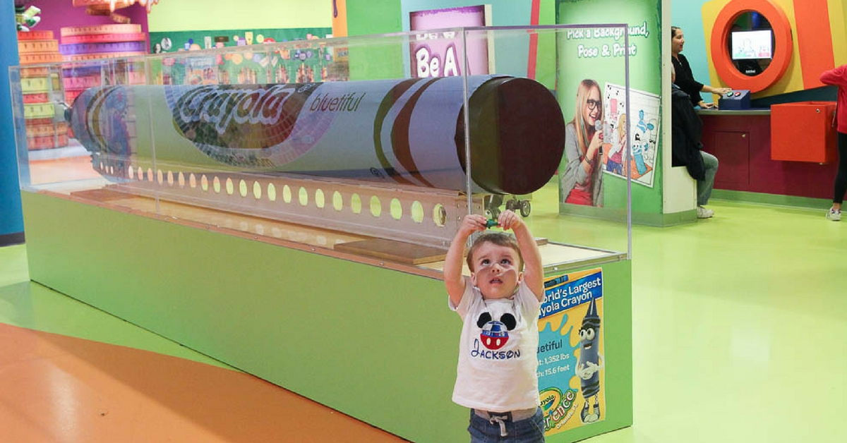 The largest crayon in the world at The Crayola Experience in Orlando, FL