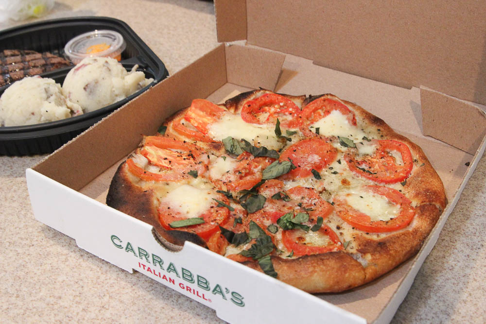 Pizza delivered from Carrabbas