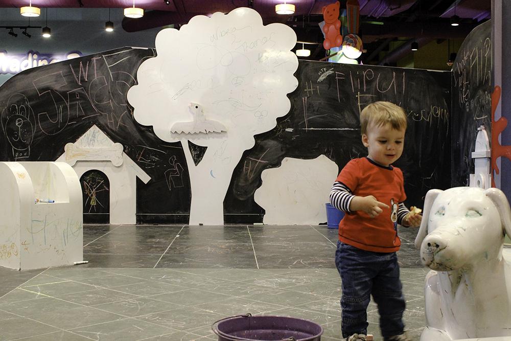Family Activities in Orlando- Jackson enjoying the chalk area at The Crayola Experience