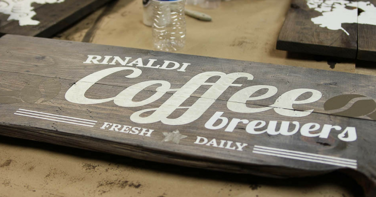 Coffee sign from board and brush