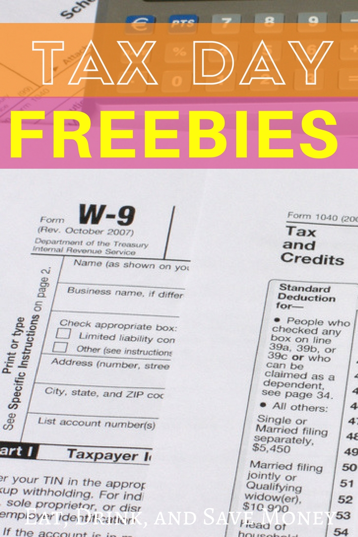 Get the ultimate list of tax day freebies and deals for 2018. #taxday #freebies #deals #taxes #savemoney #family #money #finances