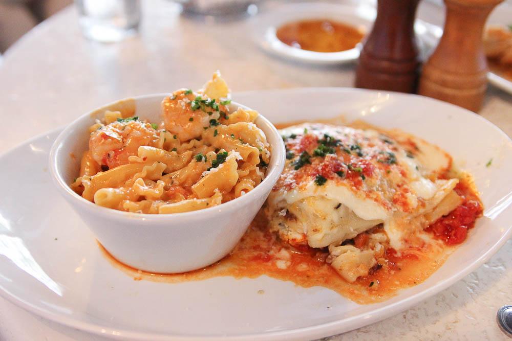 Shrimp Fra Diavolo and Lasagna from Bravo