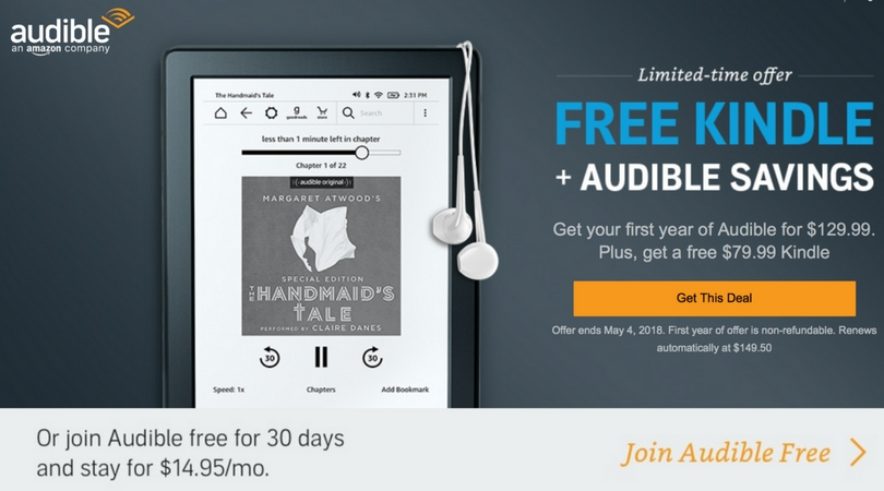 Free kindle with audible
