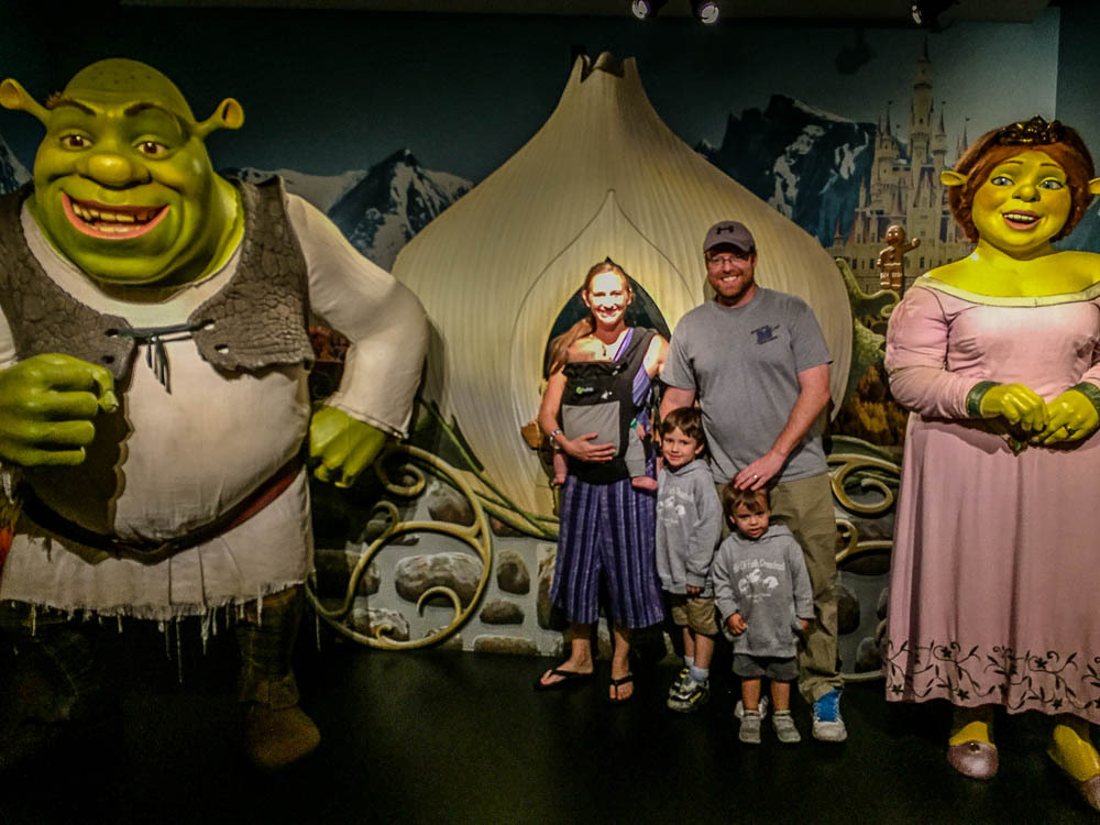 Get a fun picture with Shrek at Maddame Toussand's Wax Museum at I-Drive 360 with kids in Orlando