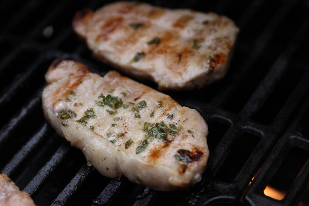 Mojo marinated pork chops on the grill