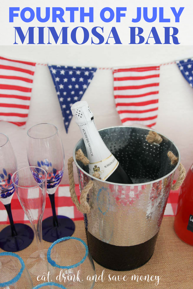 Fourth of July Mimosa Bar. Great party idea for fourth of July. Independence day party idea. 4th of July party idea.