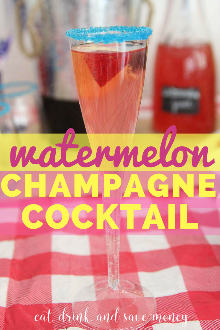 Watermelon and champagne cocktail. Summer cocktail