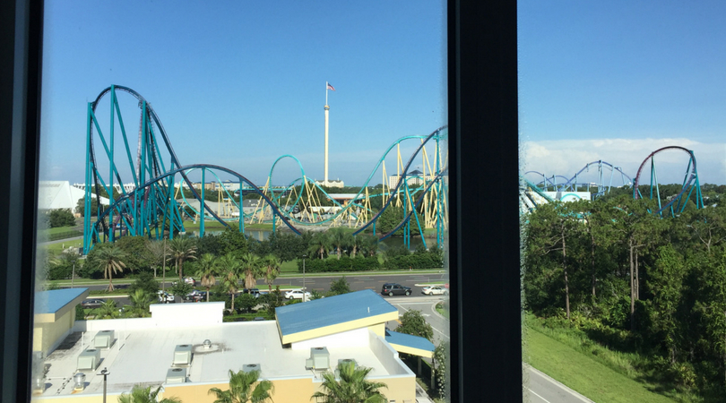 View of SeaWorld from our hotel room at TownePlace Suites in Orlando
