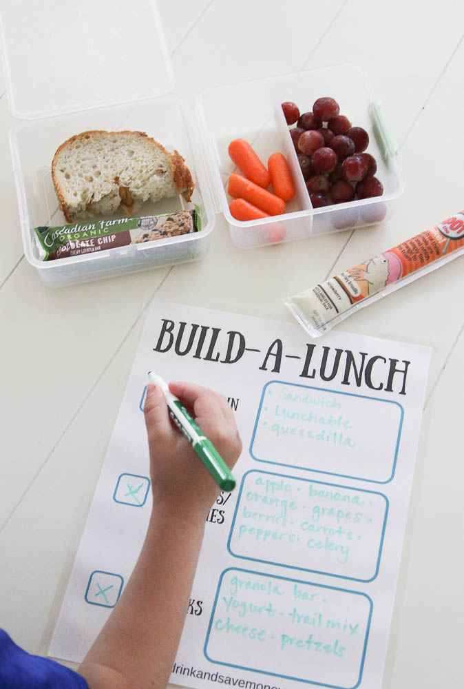 Help kids pack their own back to school lunches. Build a lunch free printable for back to school . Easy back to school lunch ideas and school lunch ideas