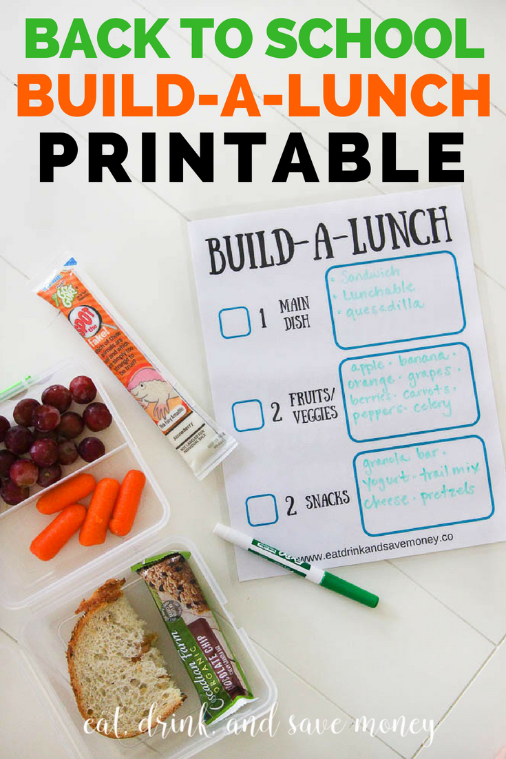 Help kids pack their own lunch with this cute and fun back to school build a lunch printable.
